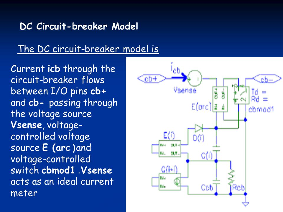 DC Circuit-breaker Model The DC circuit-breaker model is Current icb through the circuit-breaker flows between I/O pins cb+ and cb- passing through th