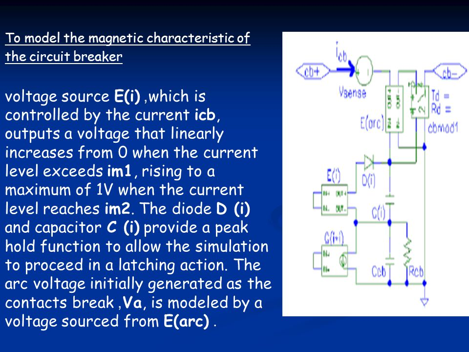 To model the magnetic characteristic of the circuit breaker voltage source E(i), which is controlled by the current icb, outputs a voltage that linear
