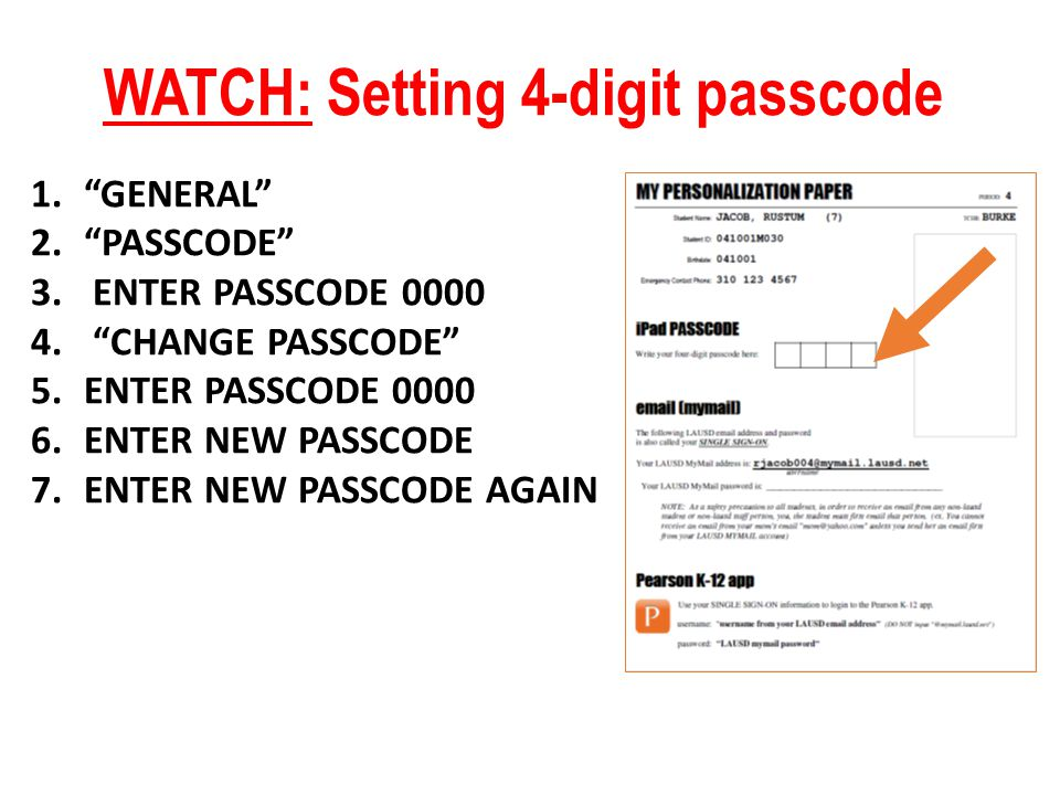 WATCH: Setting 4-digit passcode 1.GENERAL 2.PASSCODE 3.