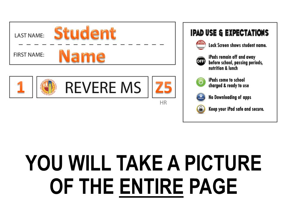 YOU WILL TAKE A PICTURE OF THE ENTIRE PAGE