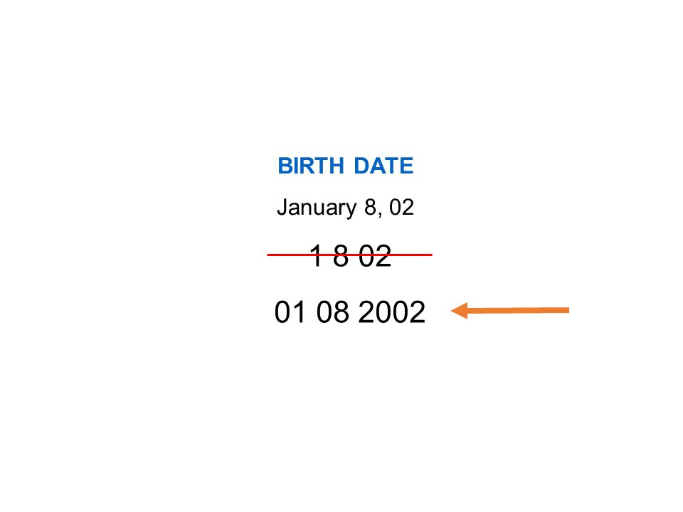 BIRTH DATE January 8, 02 01 08 2002 1 8 02