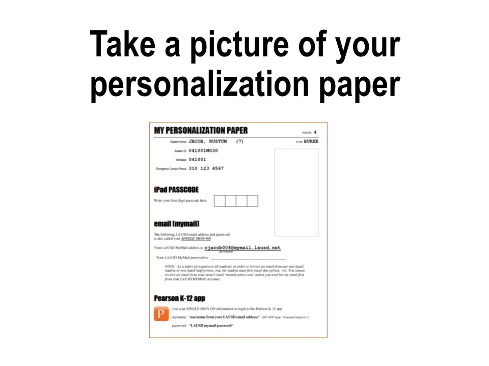 Take a picture of your personalization paper