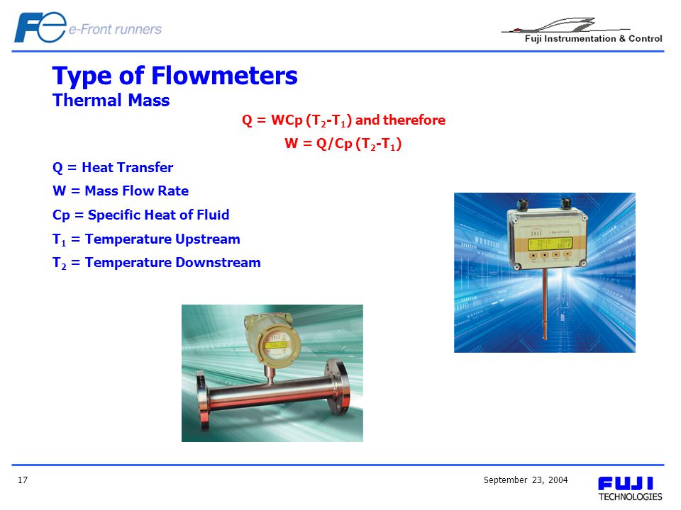 September 23, 200417 Type of Flowmeters Thermal Mass Q = WCp (T 2 -T 1 ) and therefore W = Q/Cp (T 2 -T 1 ) Q = Heat Transfer W = Mass Flow Rate Cp =