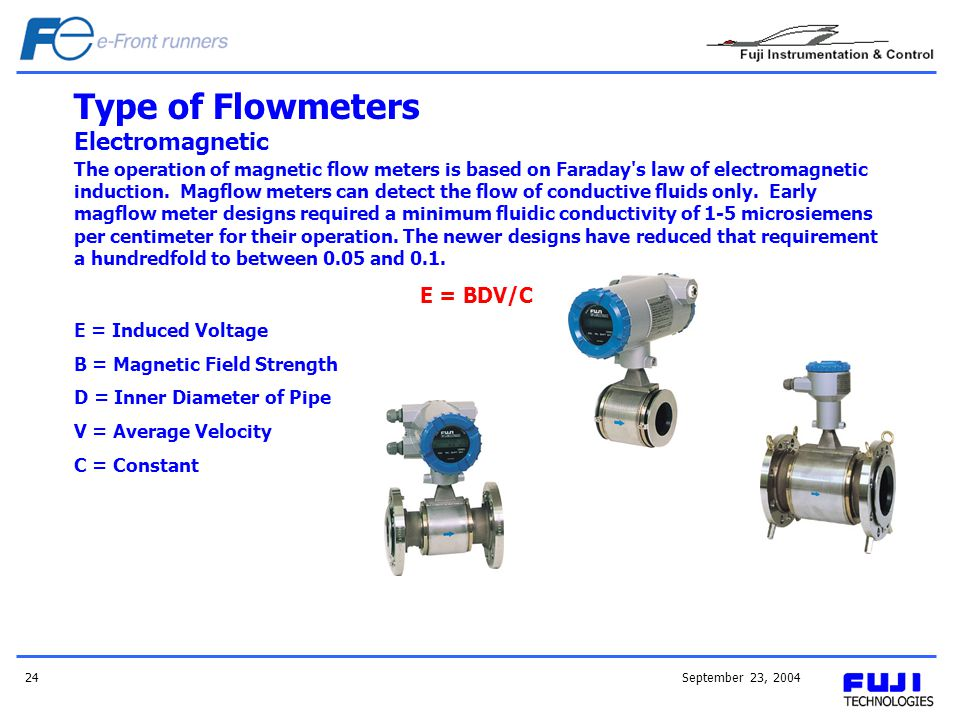 September 23, 200424 The operation of magnetic flow meters is based on Faraday's law of electromagnetic induction. Magflow meters can detect the flow