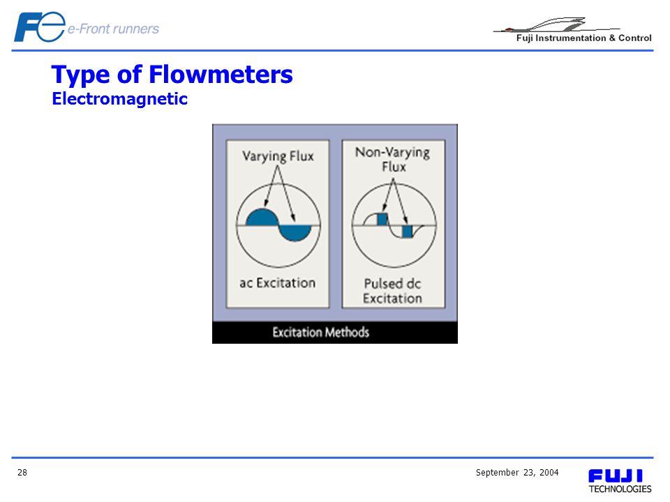September 23, 200428 Type of Flowmeters Electromagnetic