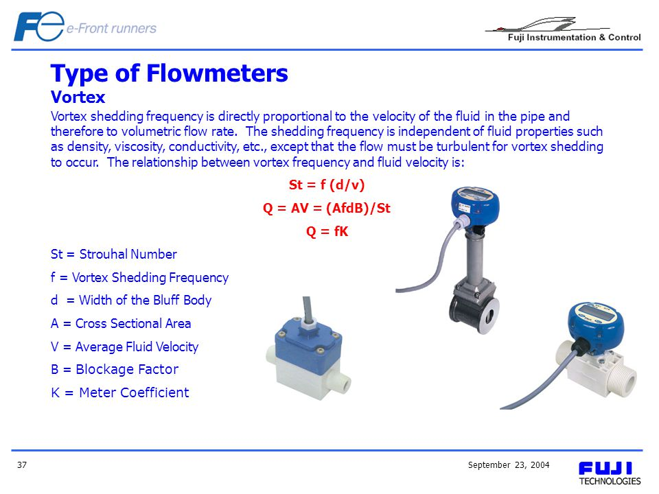September 23, 200437 Vortex shedding frequency is directly proportional to the velocity of the fluid in the pipe and therefore to volumetric flow rate