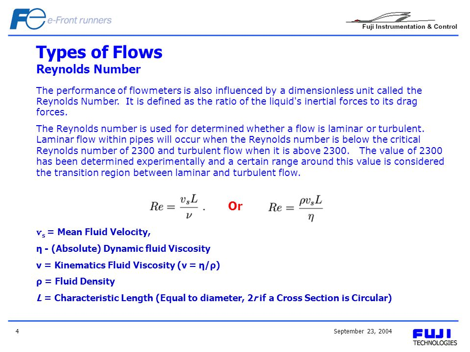 September 23, 20044 Types of Flows Reynolds Number ѵ s = Mean Fluid Velocity, η - (Absolute) Dynamic fluid Viscosity v = Kinematics Fluid Viscosity (ν