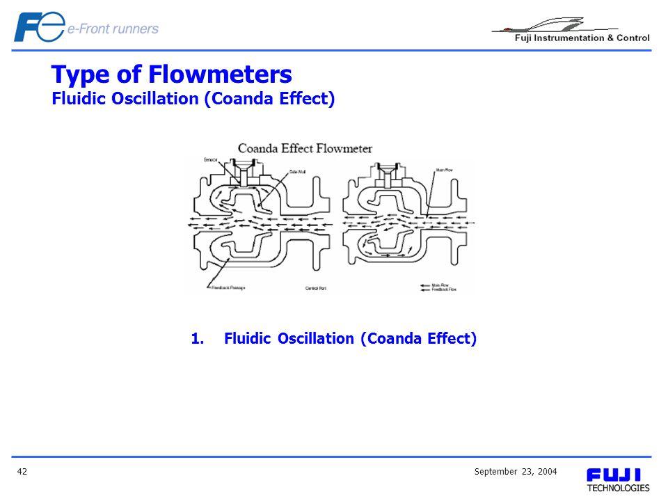 September 23, 200442 Type of Flowmeters Fluidic Oscillation (Coanda Effect) 1.Fluidic Oscillation (Coanda Effect)