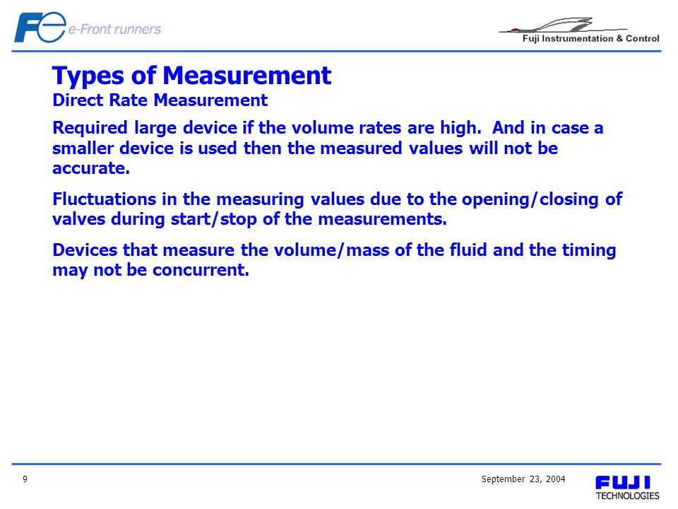 September 23, 20049 Types of Measurement Direct Rate Measurement Required large device if the volume rates are high. And in case a smaller device is u