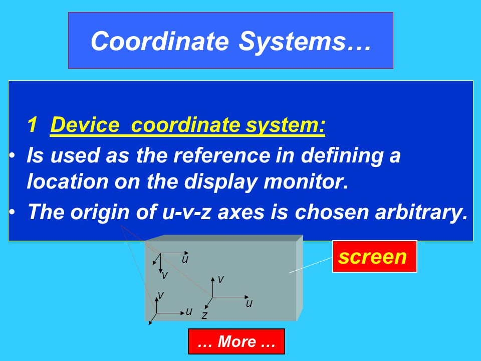 Coordinate Systems… Thus a coordinate system is necessary to provide a reference for specifying the location of a point both in space and on the monitor … More …