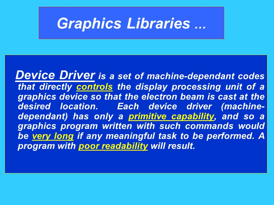 Graphics Libraries Application Program Device Driver Input/output Devices Graphics programming using graphics driver Directly, i.