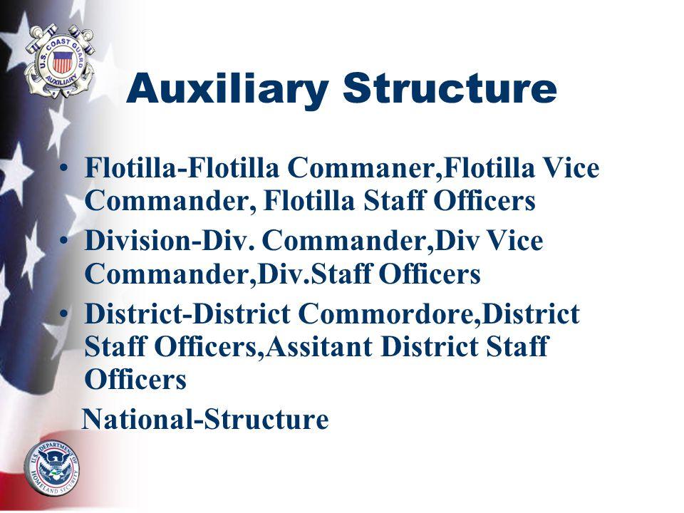 Auxiliary Structure Flotilla-Flotilla Commaner,Flotilla Vice Commander, Flotilla Staff Officers Division-Div. Commander,Div Vice Commander,Div.Staff O