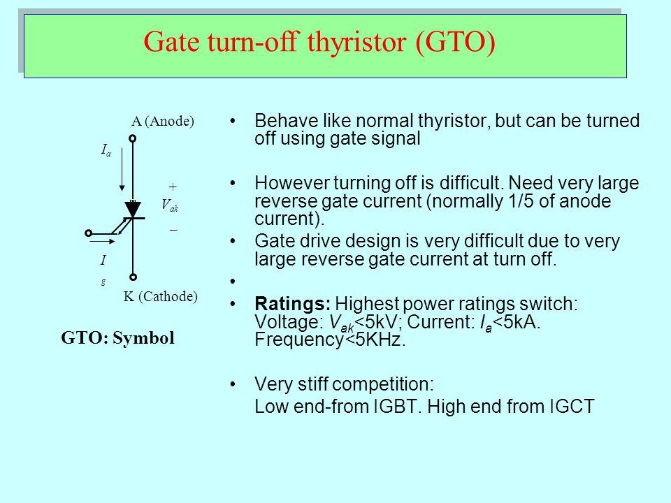 Insulated Gate-Commutated Thyristor (IGCT) K (Cathode) + V ak _ IaIa IgIg IGCT Among the latest Power Switches.