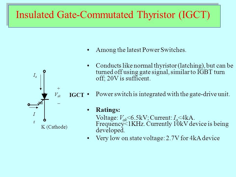 Power Switches: Power Ratings 10Hz1kHz 1MHz100kHz 10MHz 1kW 100kW 10kW 10MW 1MW 10MW 1GW 100W MOSFET IGBT GTO/IGCT Thyristor