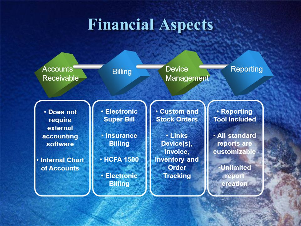 Financial Aspects Accounts Receivable Billing Device Management Reporting Does not require external accounting software Internal Chart of Accounts Electronic Super Bill Insurance Billing HCFA 1500 Electronic Billing Custom and Stock Orders Links Device(s), Invoice, Inventory and Order Tracking Reporting Tool Included All standard reports are customizable Unlimited report creation