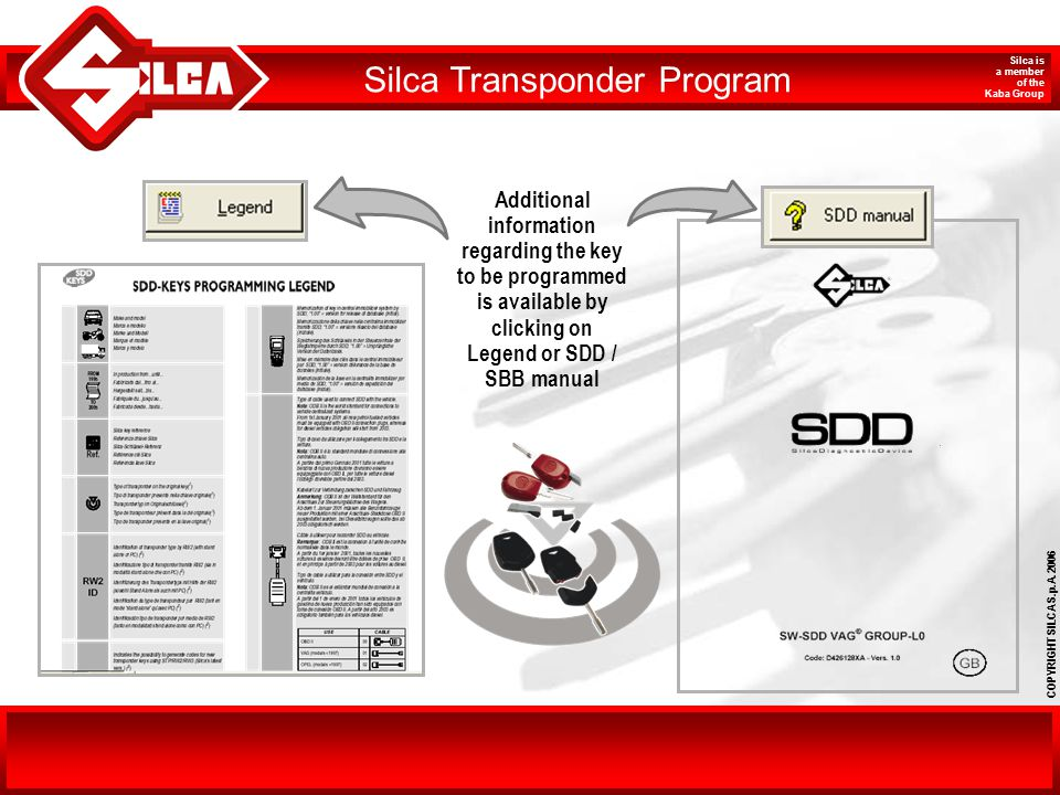 COPYRIGHT SILCA S.p.A. 2006 Silca is a member of the Kaba Group Additional information regarding the key to be programmed is available by clicking on
