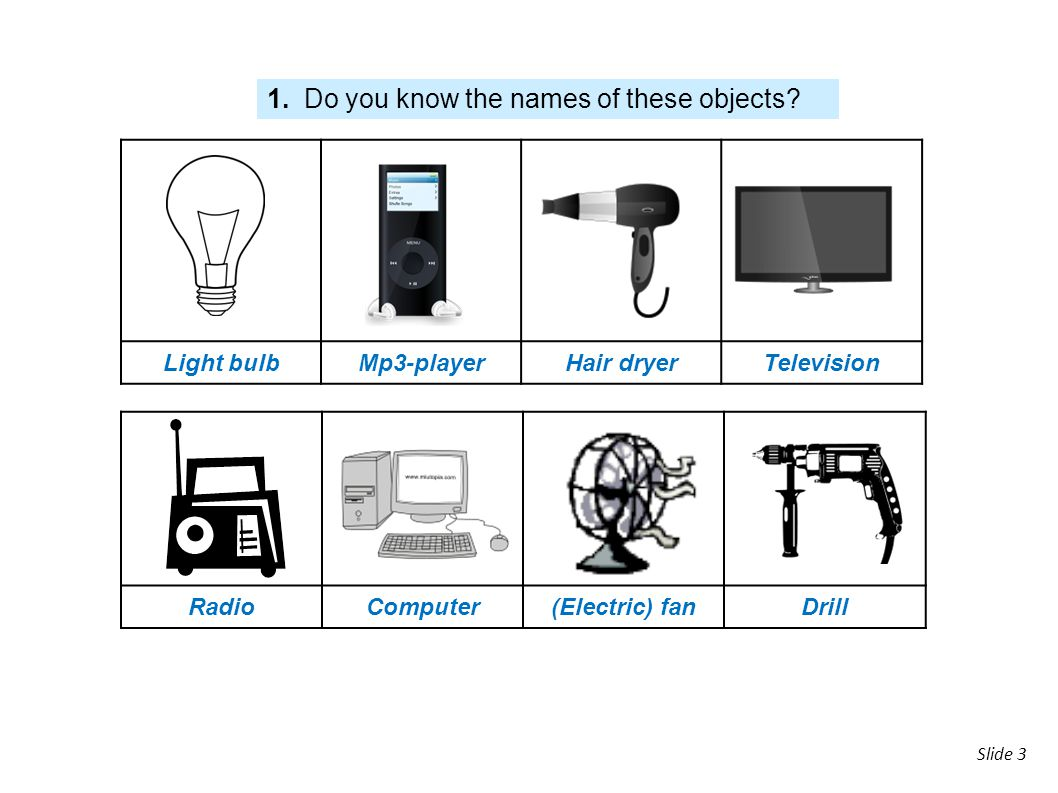 slide Slide 3 Light bulbMp3-playerHair dryerTelevision RadioComputer(Electric) fanDrill 1. Do you know the names of these objects?