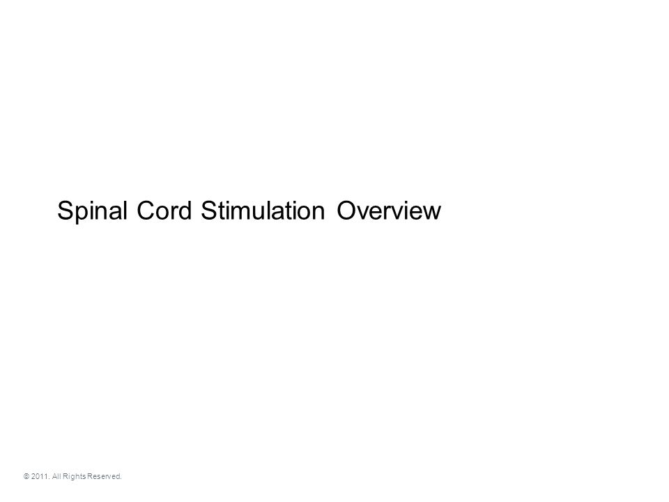 Spinal Cord Stimulation Overview © 2011. All Rights Reserved.