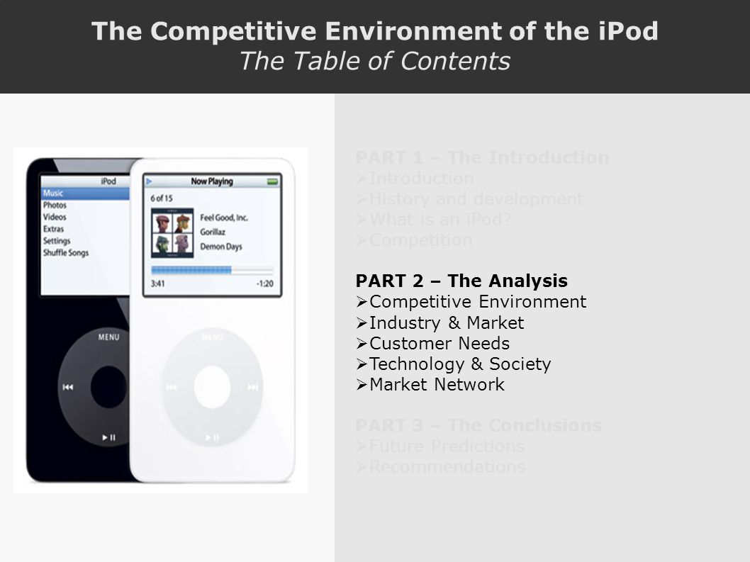 The Competitive Environment of the iPod The Table of Contents PART 1 – The Introduction Introduction History and development What is an iPod.