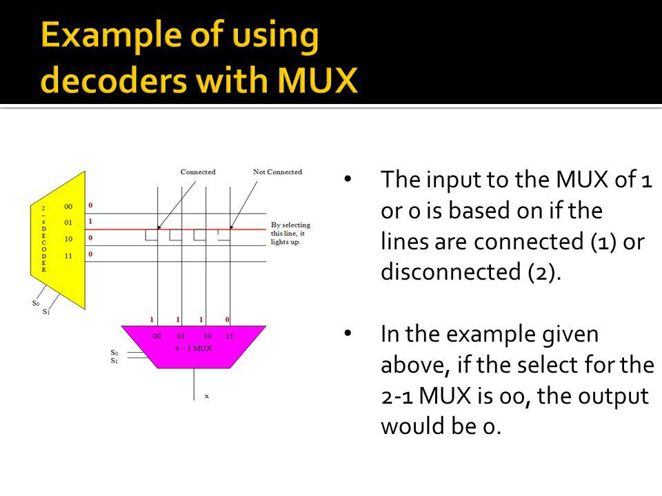 The input to the MUX of 1 or 0 is based on if the lines are connected (1) or disconnected (2). In the example given above, if the select for the 2-1 M