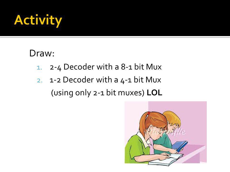 Draw: 1.2-4 Decoder with a 8-1 bit Mux 2.