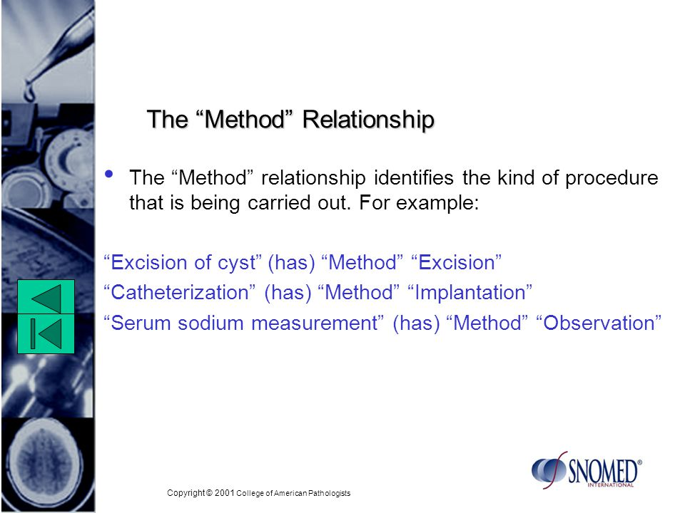 Copyright © 2001 College of American Pathologists The Method Relationship The Method relationship identifies the kind of procedure that is being carried out.