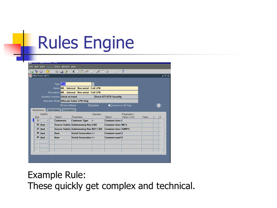 Rules Engine Example Rule: These quickly get complex and technical.