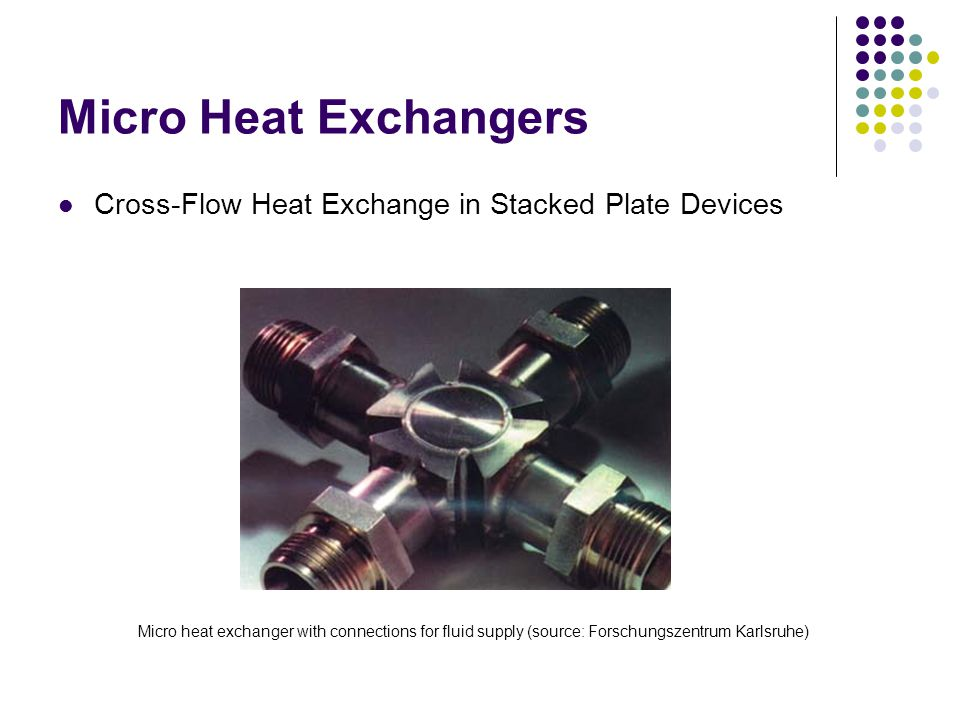 Micro Heat Exchangers Cross-Flow Heat Exchange in Stacked Plate Devices Micro heat exchanger with connections for fluid supply (source: Forschungszentrum Karlsruhe)