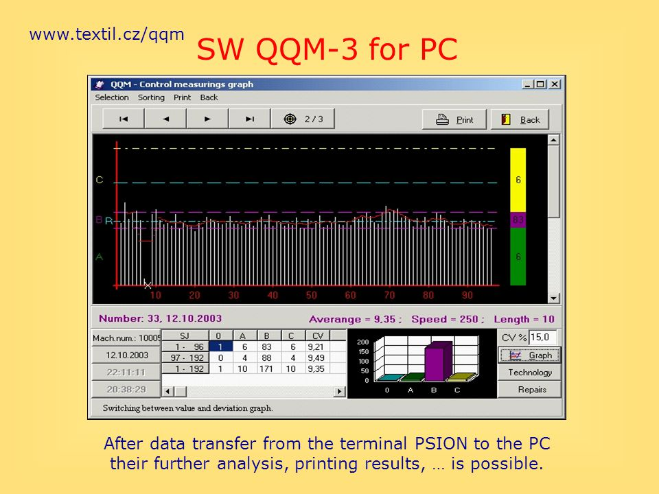 www.textil.cz/qqm After data transfer from the terminal PSION to the PC their further analysis, printing results, … is possible. SW QQM-3 for PC
