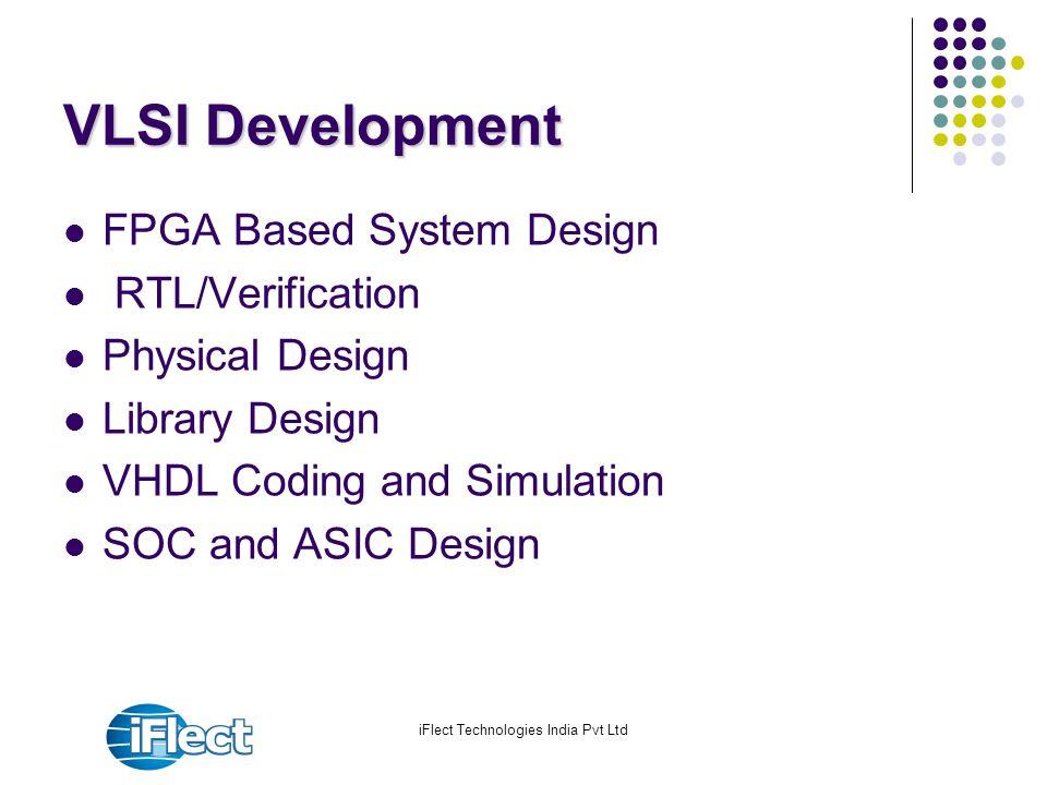 iFlect Technologies India Pvt Ltd VLSI Development FPGA Based System Design RTL/Verification Physical Design Library Design VHDL Coding and Simulation