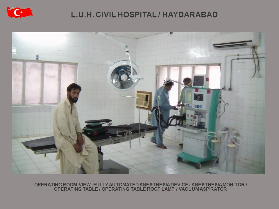 L.U.H. CIVIL HOSPITAL / HAYDARABAD OPERATING ROOM VIEW: FULLY AUTOMATED ANESTHESIA DEVICE / ANESTHESIA MONITOR / OPERATING TABLE / OPERATING TABLE ROO