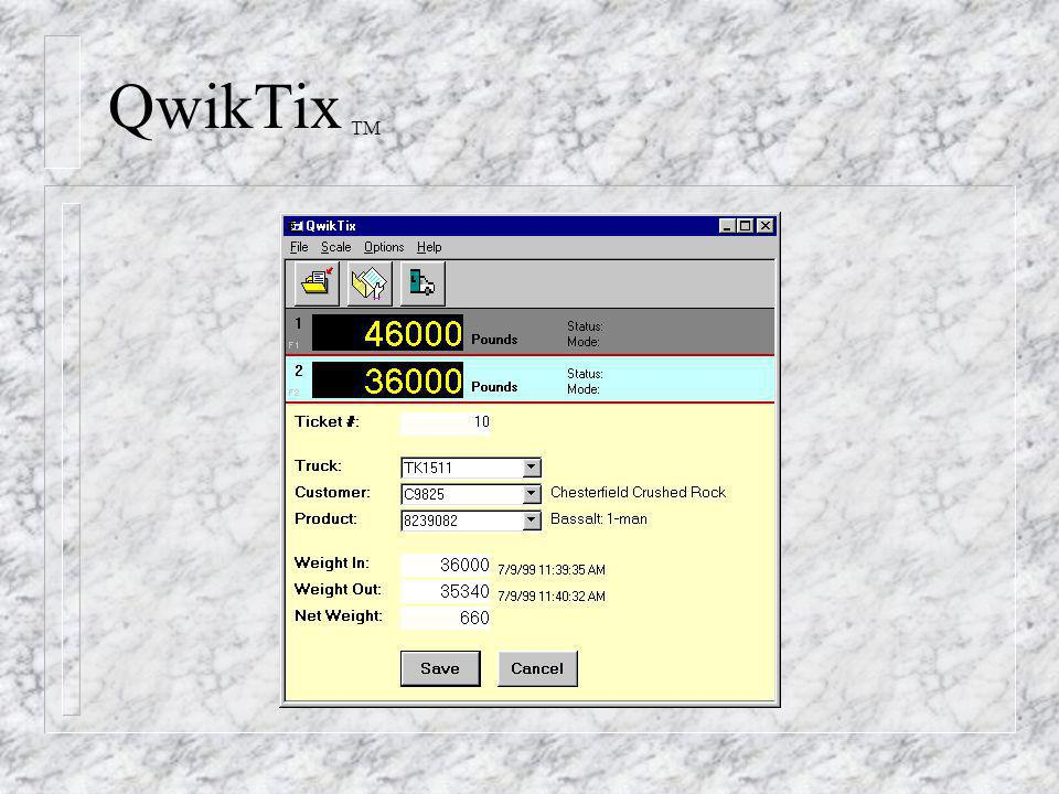 QwikTix TM n Opening an existing ticket for completion or changes allows sorting the list by Ticket Number, Truck ID, or the additional external configured data elements