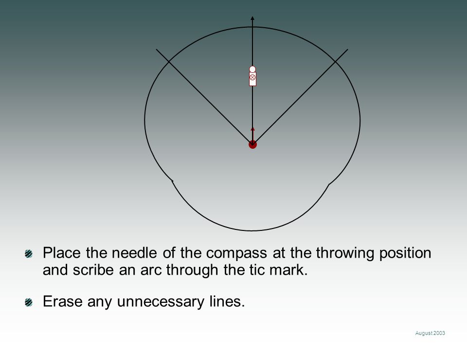 August 2003 Place the needle of the compass at the throwing position and scribe an arc through the tic mark. Erase any unnecessary lines.