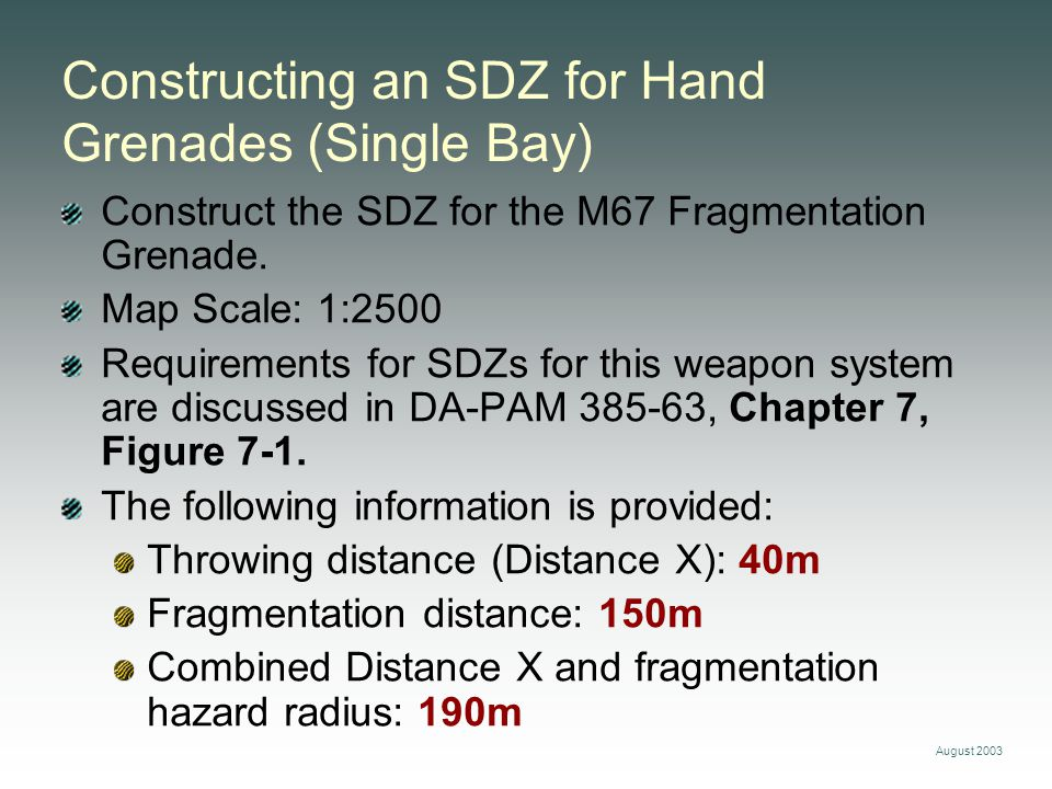 Constructing an SDZ for Hand Grenades (Single Bay) Construct the SDZ for the M67 Fragmentation Grenade. Map Scale: 1:2500 Requirements for SDZs for th
