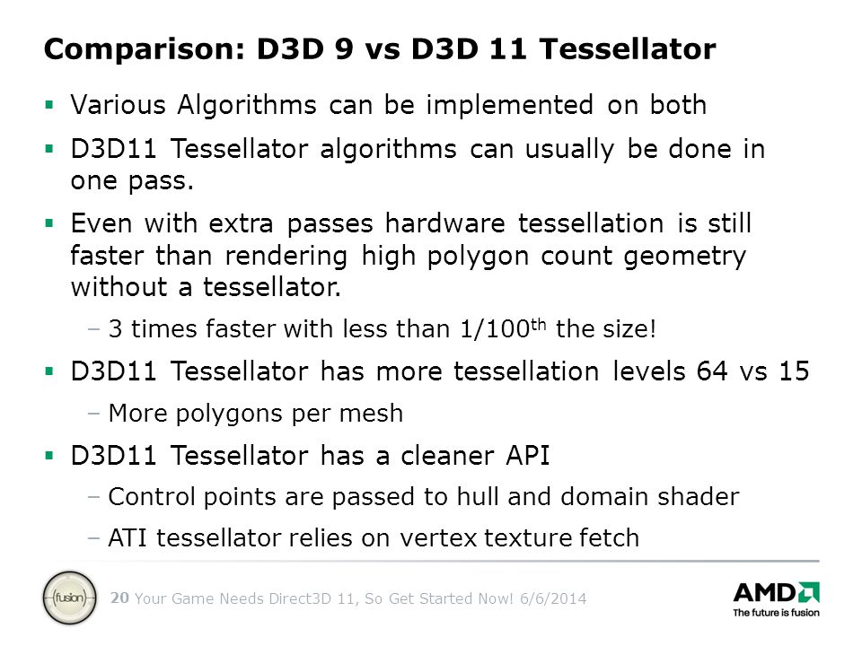 Your Game Needs Direct3D 11, So Get Started Now! 6/6/2014 20 Comparison: D3D 9 vs D3D 11 Tessellator Various Algorithms can be implemented on both D3D