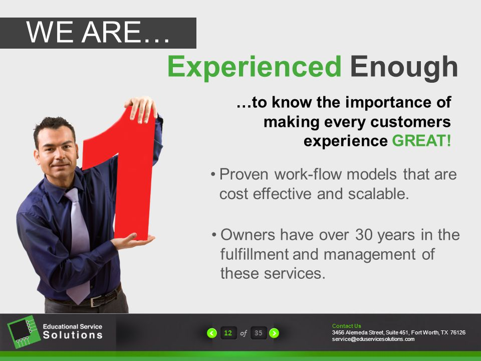 Experienced Enough 12of35 Proven work-flow models that are cost effective and scalable.