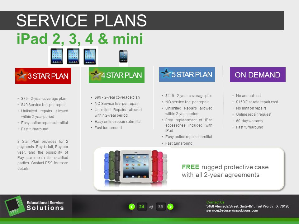 SERVICE PLANS 24of35 No annual cost $150 Flat-rate repair cost No limit on repairs Online repair request 60-day warranty Fast turnaround ON DEMAND $119 - 2-year coverage plan NO service fee, per repair Unlimited Repairs allowed within 2-year period Free replacement of iPad accessories included with iPad Easy online repair submittal Fast turnaround 5 STAR PLAN FREE rugged protective case with all 2-year agreements Contact Us 3456 Alemeda Street, Suite 451, Fort Worth, TX 76126 service@eduservicesolutions.com $79 - 2-year coverage plan $49 Service fee, per repair Unlimited repairs allowed within 2-year period Easy online repair submittal Fast turnaround 3 Star Plan provides for 2 payments: Pay in full, Pay per year, and the possibility of Pay per month for qualified parties.