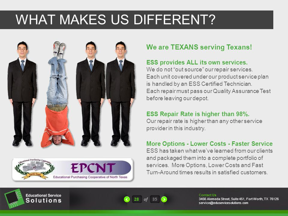 WHAT MAKES US DIFFERENT. 28of35 ESS provides ALL its own services.