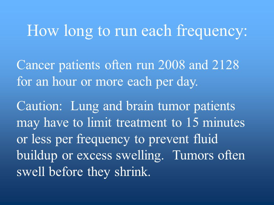 How long to run each frequency: Cancer patients often run 2008 and 2128 for an hour or more each per day.