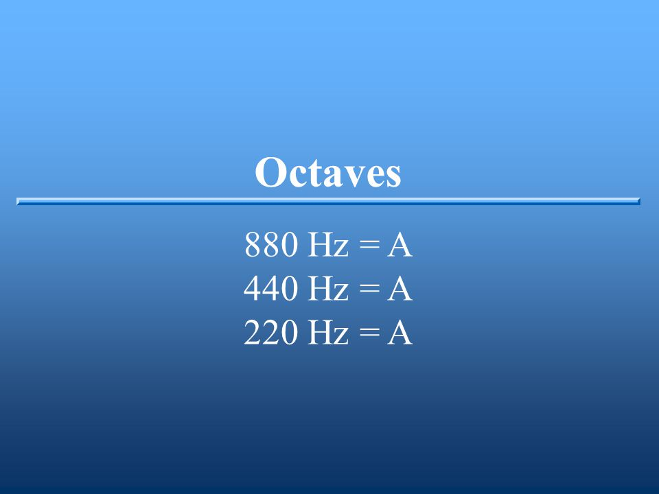 Octaves 880 Hz = A 440 Hz = A 220 Hz = A