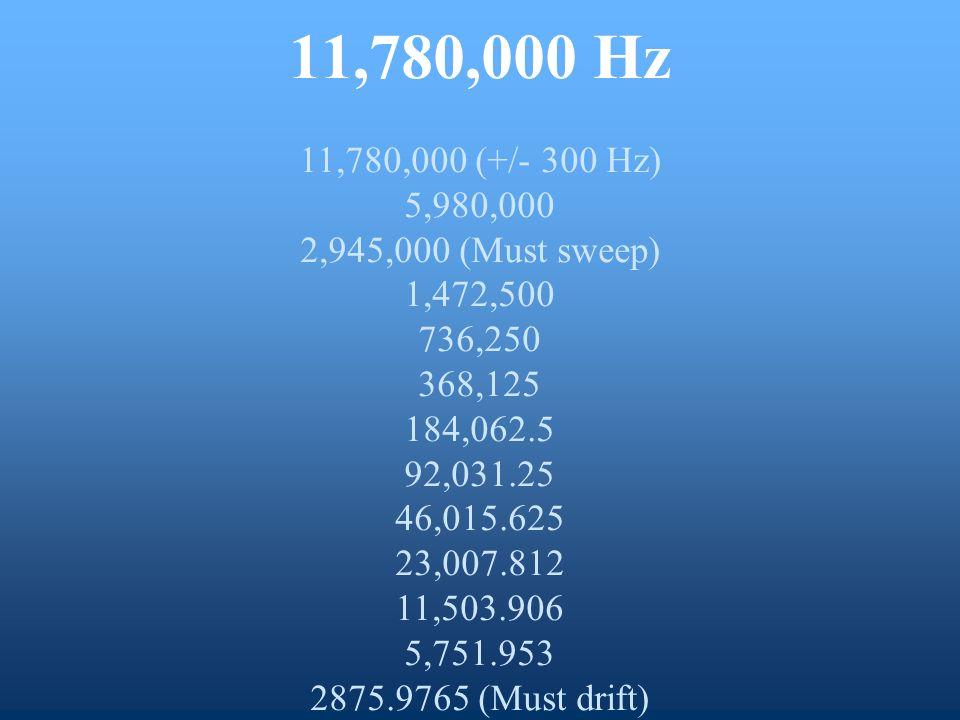 11,780,000 Hz 11,780,000 (+/- 300 Hz) 5,980,000 2,945,000 (Must sweep) 1,472,500 736,250 368,125 184,062.5 92,031.25 46,015.625 23,007.812 11,503.906