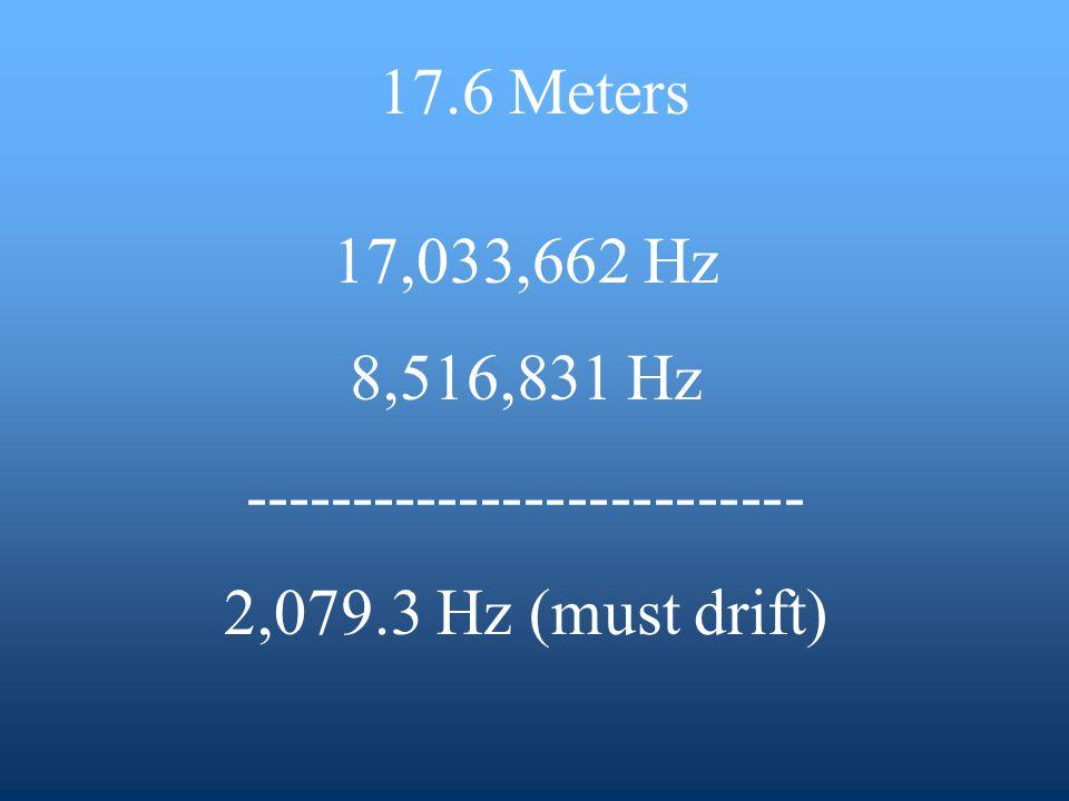 17,033,662 Hz 8,516,831 Hz -------------------------- 2,079.3 Hz (must drift) 17.6 Meters