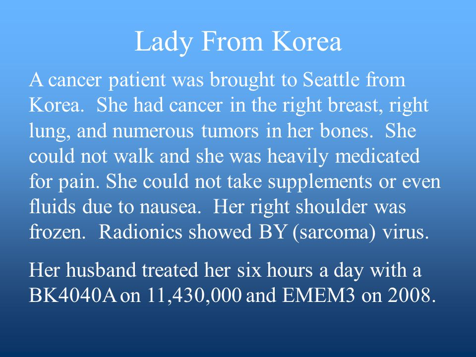 A cancer patient was brought to Seattle from Korea.