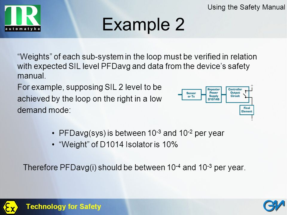Example 2 Weights of each sub-system in the loop must be verified in relation with expected SIL level PFDavg and data from the devices safety manual.