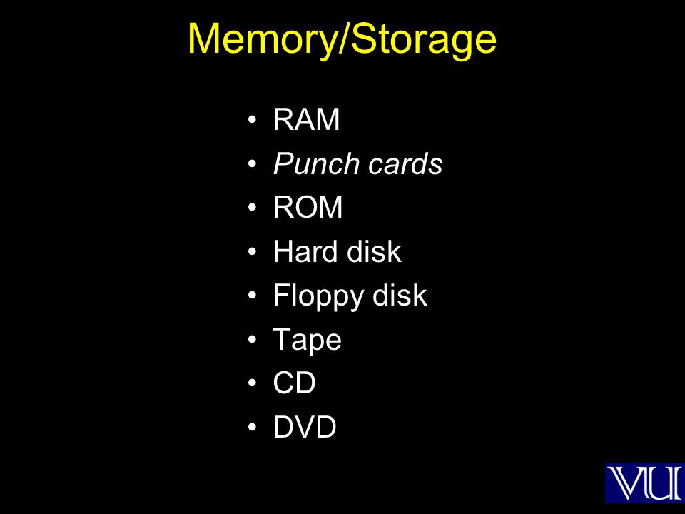 Memory/Storage RAM Punch cards ROM Hard disk Floppy disk Tape CD DVD