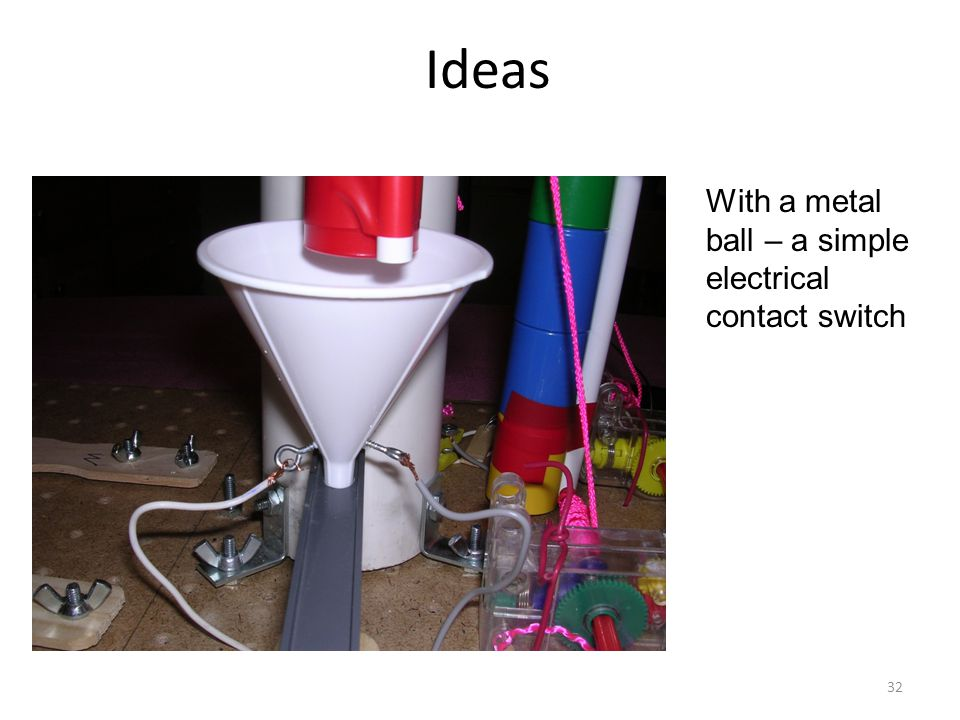 Ideas With a metal ball – a simple electrical contact switch 32