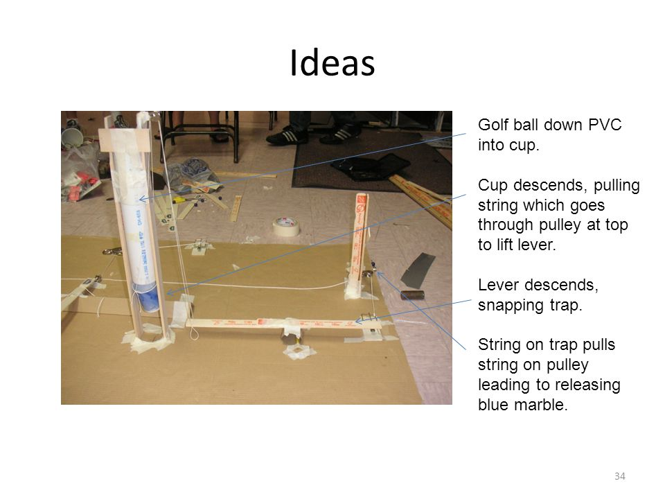 Ideas Golf ball down PVC into cup. Cup descends, pulling string which goes through pulley at top to lift lever. Lever descends, snapping trap. String
