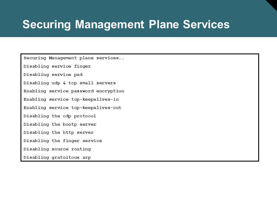 Securing Management Plane Services Securing Management plane services..