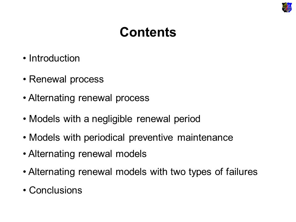 Alternating renewal models Lognormal distribution of a time to failure: We use discrete Fourier transformation for: 1.