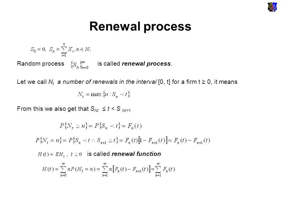 Renewal process Renewal equation An asymptotic behaviour of a renewal of renewal function: function h(t) that is defined as renewal density.